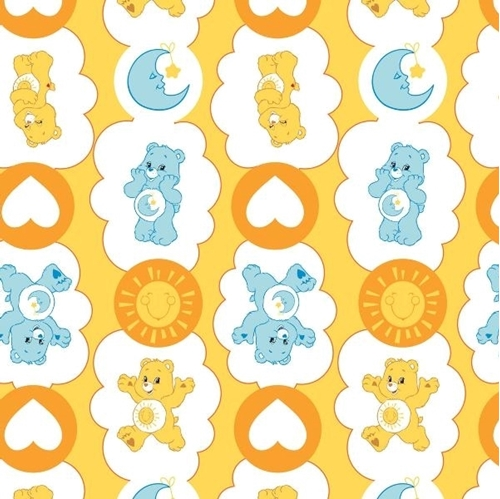 Picture of The Care Bears Funshine and Bedtime Bears Yellow Cotton Fabric