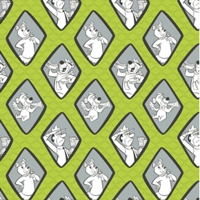 Picture of Yogi Bear Diamonds Boo Boo Park Ranger Cindy Bear Green Cotton Fabric