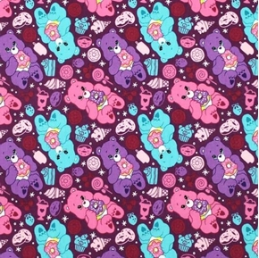 Picture of The Care Bears Sparkle and Shine Sweet Treats Purple Cotton Fabric