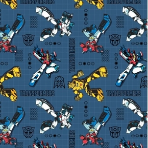 Picture of Transformers Poses on Grid Optimus Bumblebee Dot Blue Cotton Fabric