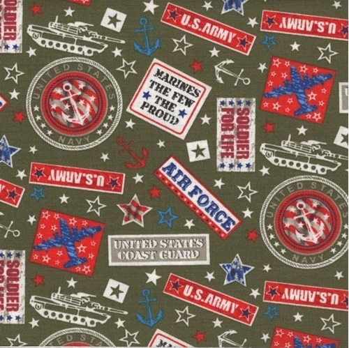 Military Marines Army Navy Air Force Soldier For Life Green Cotton Fabric