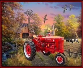 Picture of Farmall Tractor Country Living McCormick Farmall Cotton Fabric Panel