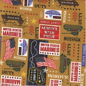 Picture of Military Marines Army Navy Air Force Service With Pride Brown Cotton Fabric