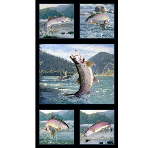 Picture of Tight Lines Rainbow Trout Fish Fishing 24x44 Cotton Fabric Panel