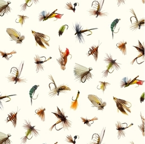 Picture of Tight Lines Fly Fishing Lures Poppers Parachutes Cream Cotton Fabric