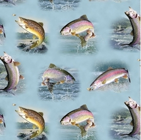 Picture of Tight Lines Rainbow Trout Fish Fishing Vignettes Blue Cotton Fabric