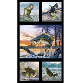 Picture of Tight Lines Largemouth Bass Fish Fishing 24x44 Cotton Fabric Panel