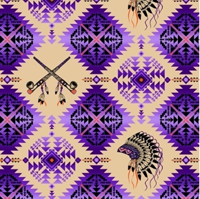 Picture of Native Spirit Native American Headdress Pipe Purple Cotton Fabric