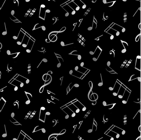 Picture of Jazz Music Notes Musical Notes G-Clef Grey on Black Cotton Fabric