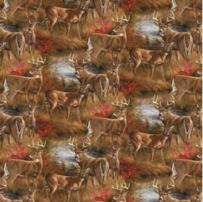 Picture of Wild Wings Amongst The Shadows Deer All Over Fall Woods Cotton Fabric