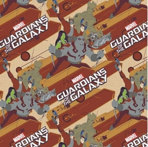 Picture of Marvel Comics Guardians of the Galaxy Characters Rust Cotton Fabric