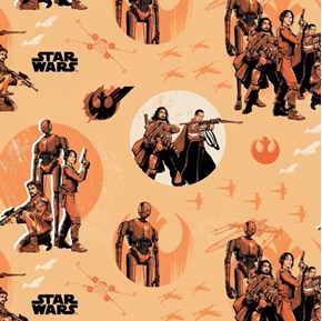 Star Wars Rogue One Rebels Jyn Erso K-2SO Orange Cotton Fabric