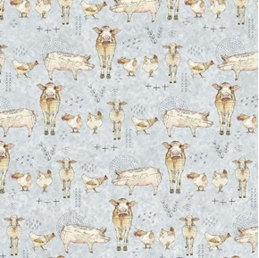 Farm Life Farm Animals Cows Pigs Chickens Light Gray Cotton Fabric