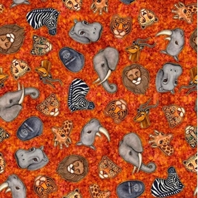 Serengeti Jungle Animal Heads Rhino Elephant Rust Cotton Fabric