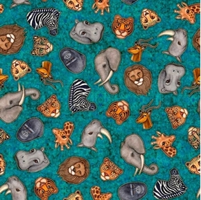 Serengeti Jungle Animal Heads Rhino Elephant Turquoise Cotton Fabric