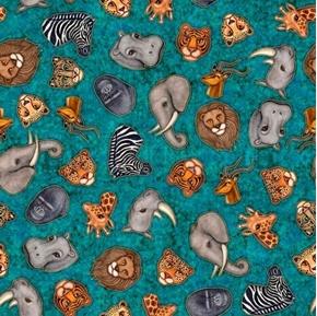Serengeti Jungle Animal Heads Rhino Elephant Turquoise Cotton Fabric