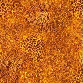 Serengeti Jungle Animal Skin Blender Amber Gold Cotton Fabric