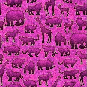 Serengeti Jungle Animals Silhouettes Fuchsia with Gold Cotton Fabric