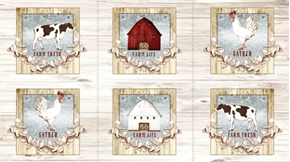Farm Life Farm Picture Patches Barn Cows 24x44 Cotton Fabric Panel