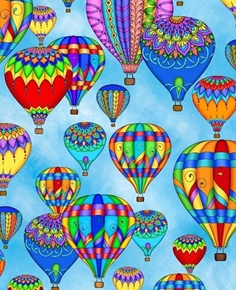 Balloon Festival Hot Air Balloons Rainbow Balloon Blue Cotton Fabric