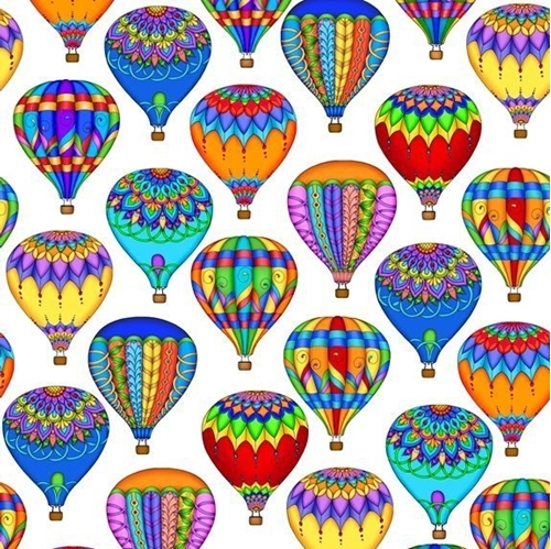 Balloon Festival Packed Hot Air Balloons Rainbow White Cotton Fabric