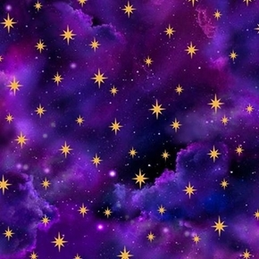 In the Beginning Starry Sky Gold Stars and Clouds Purple Cotton Fabric