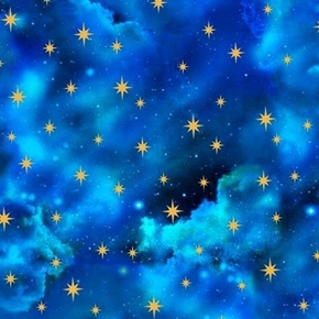 In the Beginning Starry Sky Gold Stars Clouds Royal Blue Cotton Fabric
