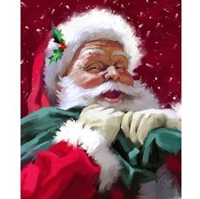 Santa's Portrait Santa Delivering Presents Large Cotton Fabric Panel