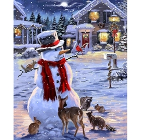 Snowman and Animals Winter Holiday Large Cotton Fabric Panel