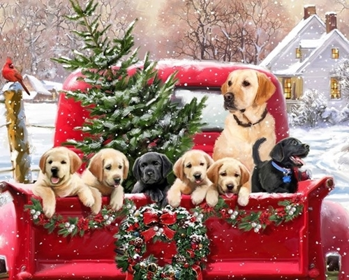 Labs in Red Truck Christmas Holiday Puppies Large Cotton Fabric Panel