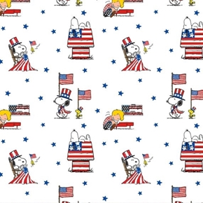 Patriotic Peanuts Snoopy Woodstock Schroeder White Cotton Fabric