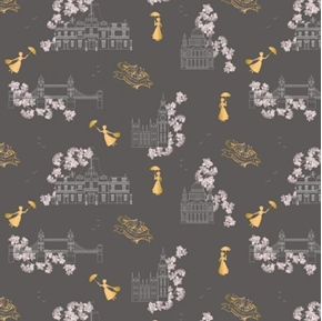 Mary Poppins Toile Metallic London Buildings Black Cotton Fabric