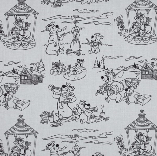 Yogi Bear Line Art Scenic Toile Hanna-Barbera Gray Cotton Fabric