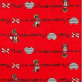 Flannel Disney Minnie Mouse I'm Bowtiful Mwah Red Cotton Fabric