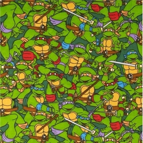 Flannel TMNT Ninja Turtles Heroes on a Half Shell Packed Cotton Fabric