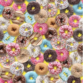 This & That III Donuts Glazed Sprinkles Decorated Yellow Cotton Fabric