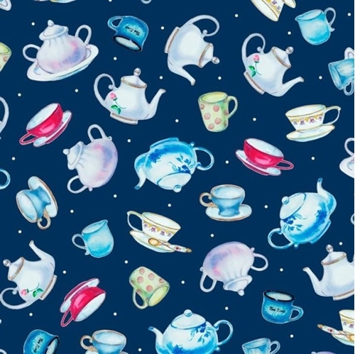 This & That III Teapots and Teacups Navy Blue Cotton Fabric