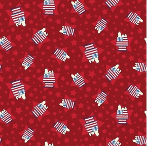 Patriotic Peanuts Snoopy House Toss Flag Dog Houses Red Cotton Fabric