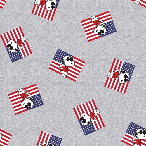 Patriotic Peanuts Snoopy As Joe Cool American Flags Gray Cotton Fabric