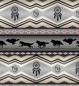 Tucson Southwest Dream Catcher Wolves Wolf Gray Cotton Fabric