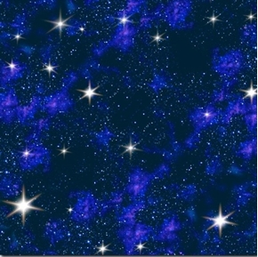 In Space Stars in the Galaxy Bright Starry Night Blue Cotton Fabric