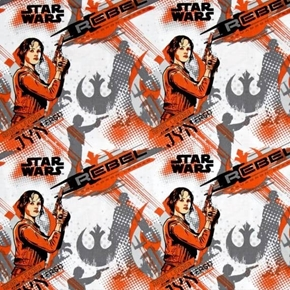 Star Wars Rogue One Jyn Erso Rebel Leader Orange Cotton Fabric