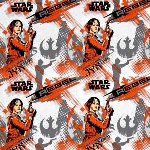 Star Wars Rogue One Jyn Erso Rebel Leader Orange Cotton Fabric