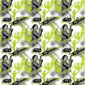 Star Wars Rogue One Jyn Erso Rebel Leader Green Cotton Fabric