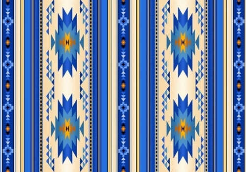 Tucson Southwest Native American Royal Blue Small Stripe Cotton Fabric