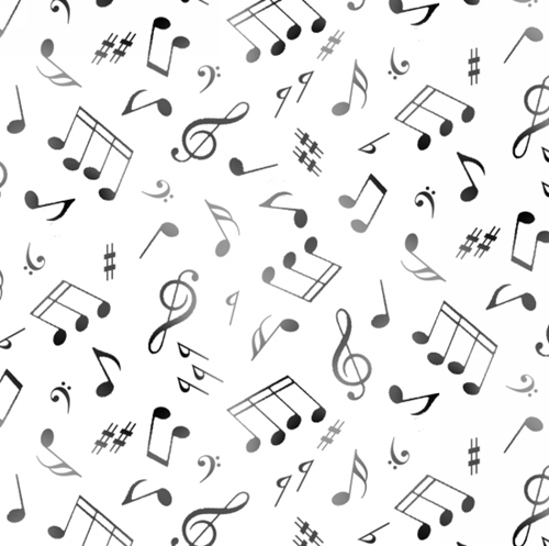 Jazz Music Notes Musical Notes G-Clef on White Cotton Fabric