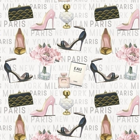 Forever Fashion Glam Paris Perfume Purses and Pumps Cotton Fabric