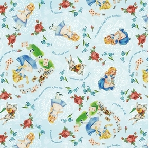 Alice in Wonderland Sweet Alice Vintage Storybook Cotton Fabric