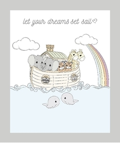 Precious Moments Noahs Ark Let Dreams Set Sail Cotton Fabric Panel