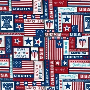 Patriotic Patch Stars Flags Liberty Bells America Cotton Fabric